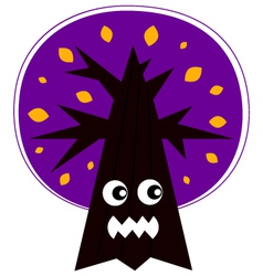 Cute Angry Halloween tree isolated on white vector image vector image