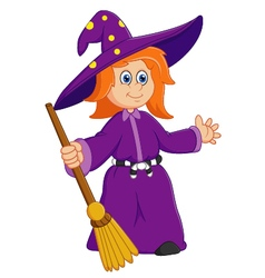 Cute cartoon witch vector