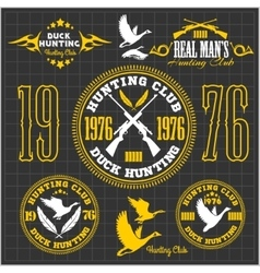 Duck Hunting - set for hunting emblem vector image vector image