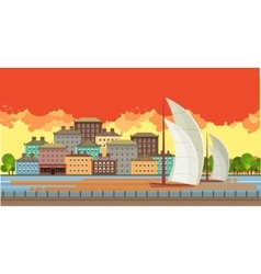 Evening city near the river vector image vector image