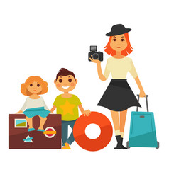 Family people travel flat icons woman and vector