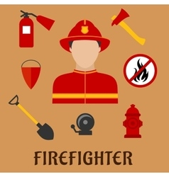Fireman with fire fighting tools flat icons vector