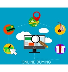 Flat online shopping infographic vector