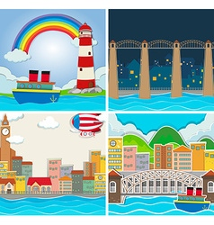 Four scene of city and countryside vector