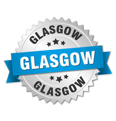 Glasgow round silver badge with blue ribbon vector