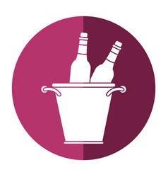 glass bottles wine bucket shadow vector image