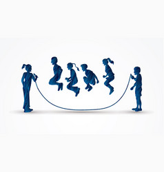 Group of children jumping rope play together vector