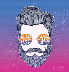 Hand drawn hipster silhouette vector