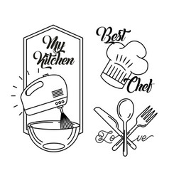 Icons set cooking lessons vector