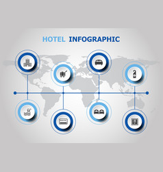 Infographic design with hotel icons vector