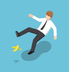 isometric businessman slipped on a banana peel vector image