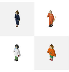 Isometric human set of lady doctor cleaner and vector