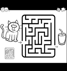 Maze activity game with cat and milk vector
