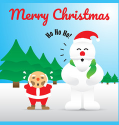 merry christmas - snowman acting like santa claus vector image vector image
