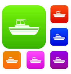 Motor boat set collection vector