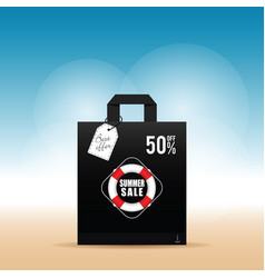 Paper bag with summer sale on it vector