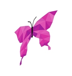 Pink butterfly icon isometric 3d style vector image