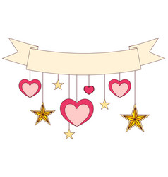 ribbon hearts and stars on colorful poster vector image vector image