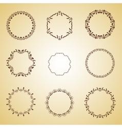 Set of vintage brown frame vector image vector image
