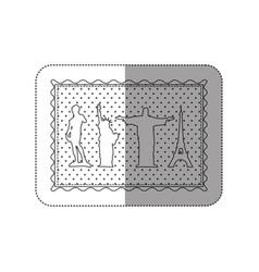 Sticker contour frame of set of the world landmark vector