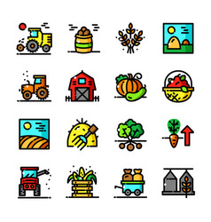 Thin line harvest icons set vector