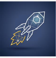 triangle rocket icon on dark background vector image vector image