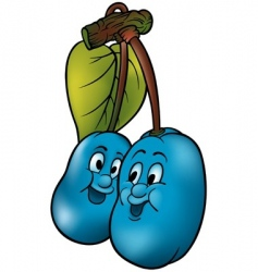two blue plums vector image vector image