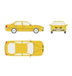 Yellow car on a white background vector image vector image
