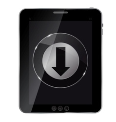 Glass download button icon on abstract tablet vector