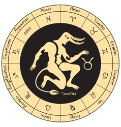 Taurus with the signs of the zodiac vector image