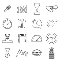 Race icons set outline style vector