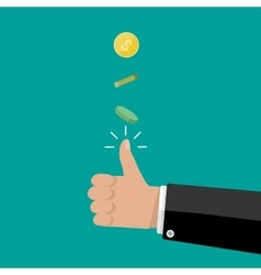 Hand of businessman tossing a coin vector