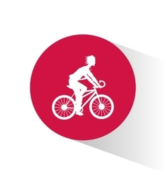 Man riding bike inside circle design vector