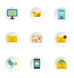 E-mail icons set flat style vector