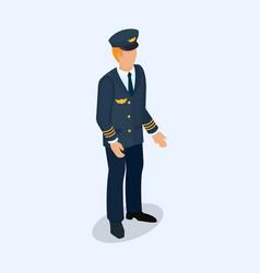 Aviator pilot figure isolated on a light vector