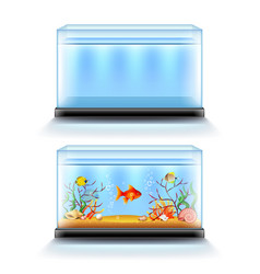Aquarium with fish and blank isolated on white vector