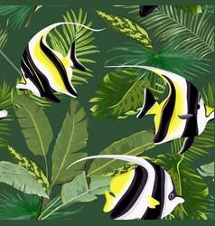 Seamless floral palms graphic with tropical fish vector