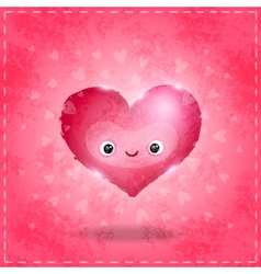 Happy valentines day card with cute heart vector