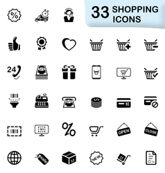 33 black shopping icons vector