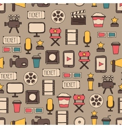 Seamless pattern of doodle colorful movie design vector
