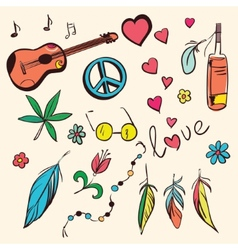 Colorful hand drawn hippie set vector