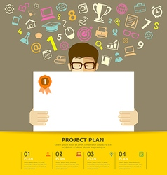 Business plan white paper in hands man vector