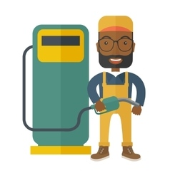 Gasoline boy with gas pump vector
