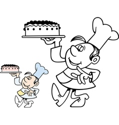 Confectioner carrying a cake vector