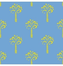 Seamless pattern with palm on blue vector