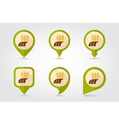 Ears of wheat barley rye field flat map pin icon vector