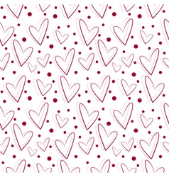 Seamless pattern with red asymmetrical hearts vector