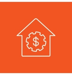 House with dollar symbol line icon vector
