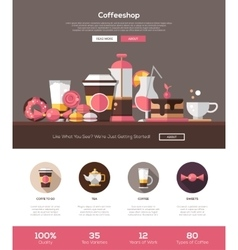 Coffee shop cafe bakery website template with vector