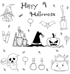 Happy halloween cute element in doodle vector